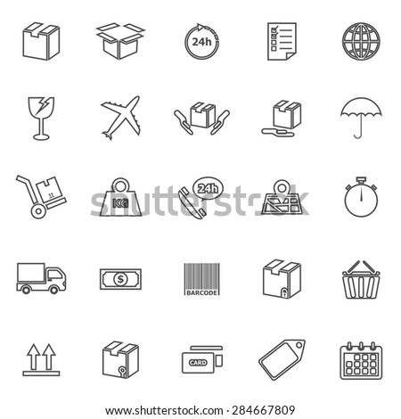 Shipping line icons on white background, stock vector - stock vector