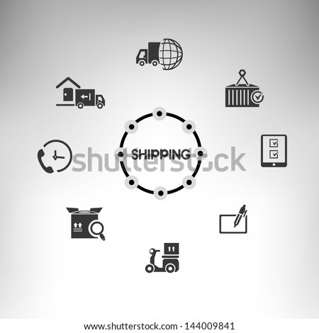 shipping management system info graphic, shipping icons set - stock vector