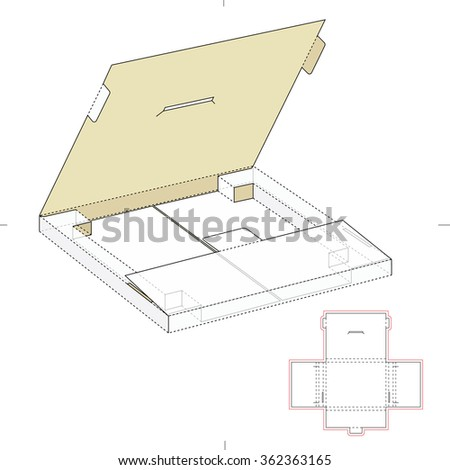 Shipping Slim Retail Box with Die Cut Template - stock vector