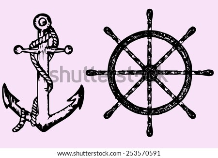 ships anchor and wheel, doodle style, sketch illustration - stock vector