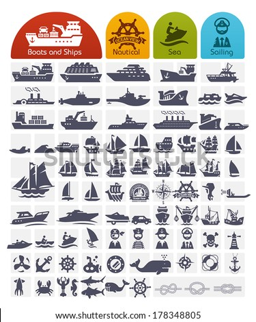 Ships and Boats Icons Bulk series -  over 80 high quality icons,  - stock vector