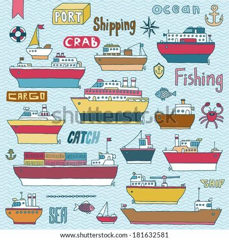 Ships doodle set. Vector illustration. - stock vector