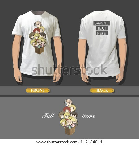 Shirt design with an illustration of a friends playing. Realistic vector design. - stock vector