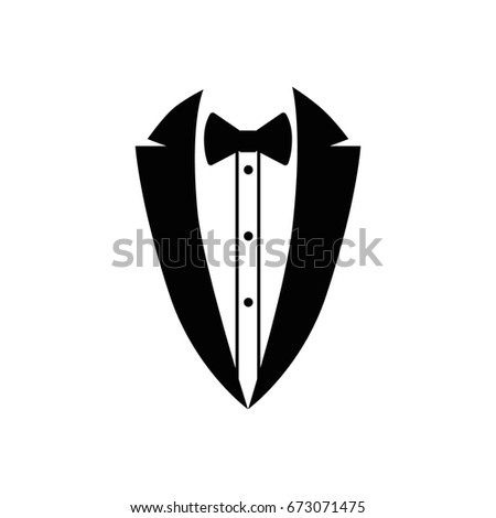 Shirt, jacket and butterfly. Business suit icon. Vector illustration.