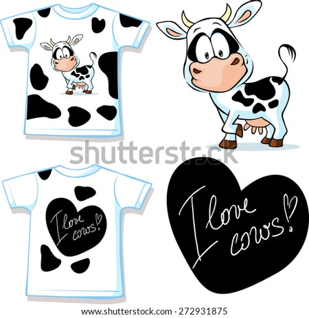 shirt with cute black and white cow - vector illustration - stock vector