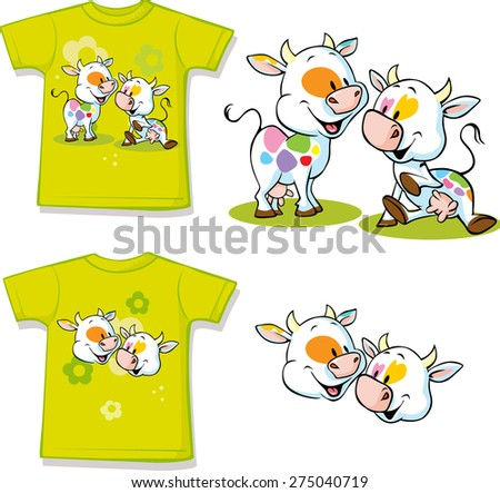 shirt with cute cow cartoon - vector illustration - stock vector