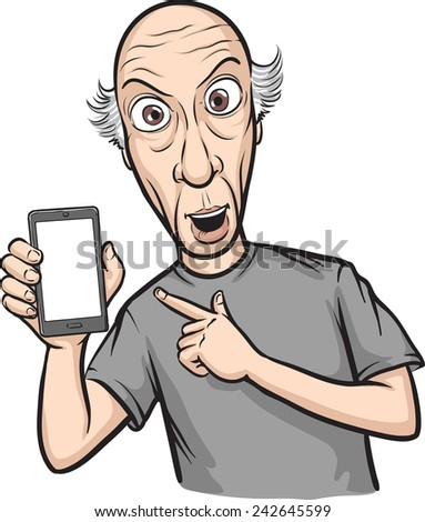 shocked bald man showing a mobile app on a smart phone - stock vector