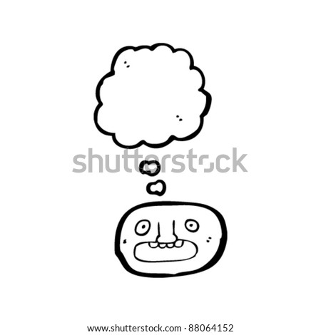 shocked emoticon face cartoon - stock vector