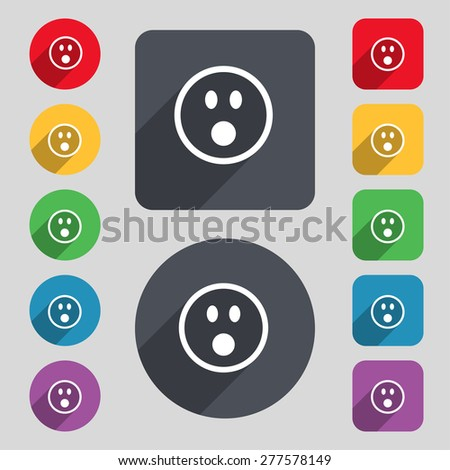 Shocked Face Smiley icon sign. A set of 12 colored buttons and a long shadow. Flat design. Vector illustration - stock vector