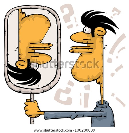 Shocked man is watching at the mirror. His head over heels - stock vector