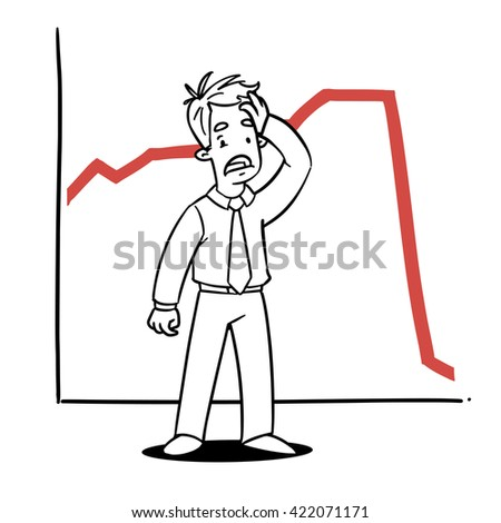 Shocked Man with Red Graph Down - stock vector
