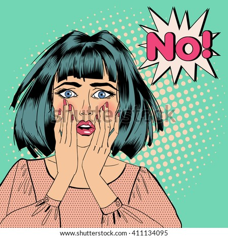 Shocked Woman. Bubble Expression No. Pop Art. Vector illustration - stock vector