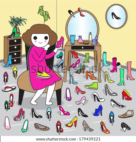 Shoe Addiction, a woman can never have too many shoes. - stock vector