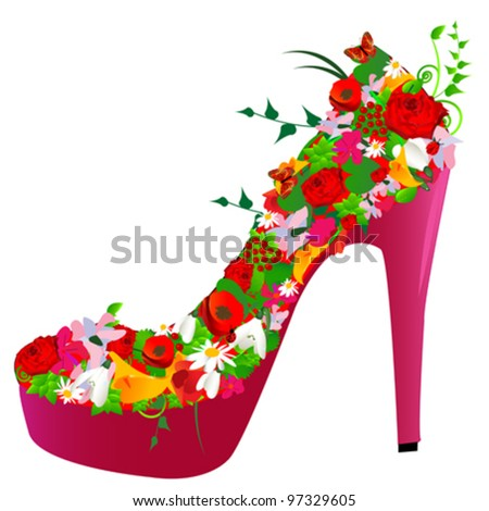 shoe from flowers on white background - stock vector