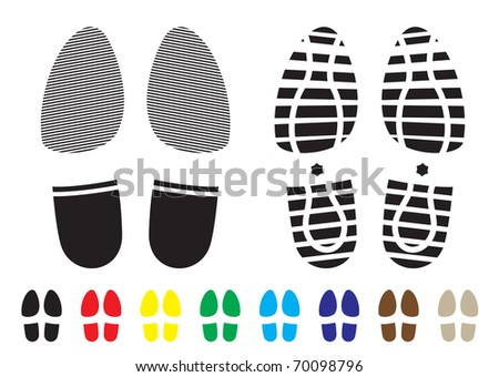 shoe print pattern with outline and template samples - stock vector