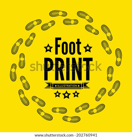 Shoe print vector illustration on yellow background - stock vector