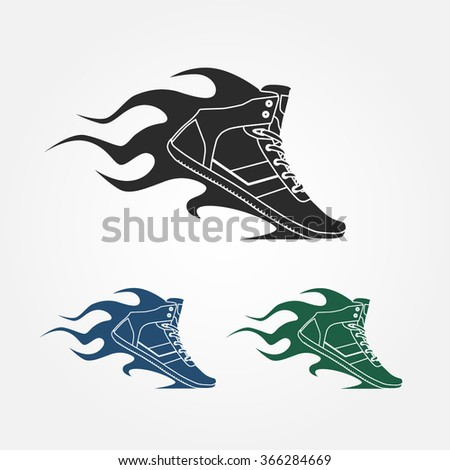 shoe with fire. Sport and fitness logo, icon - stock vector