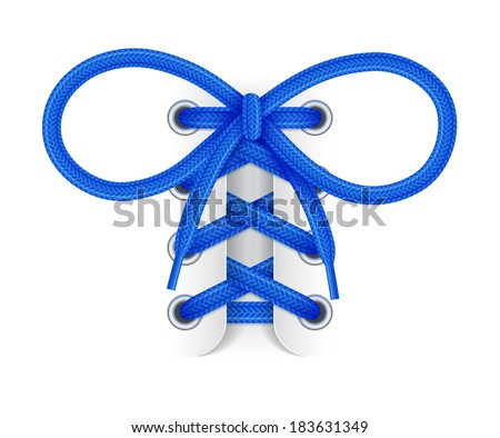 Shoelaces. Element of sneaker. Blue laces with bow knot on white background. Vector illustration - stock vector