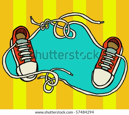 shoelaces tangled up - stock vector