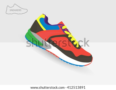 Shoes flat icon with bright colorful running sneakers. Vector  - stock vector