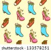 Shoes flower pot, vector seamless colorful pattern - stock vector