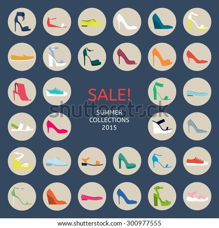 Shoes for all occasions: shoes, sandals, sneakers, boots. Vector flat colorful  icon set - stock vector