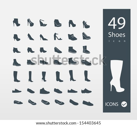 Shoes icons set (set of 30 Quality icons ) - stock vector