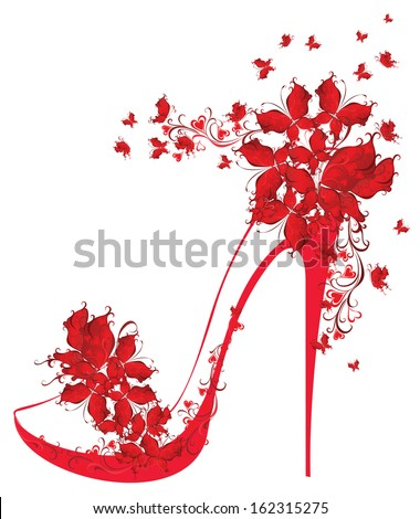 Shoes on a high heel decorated with butterflies. Vector illustration. - stock vector
