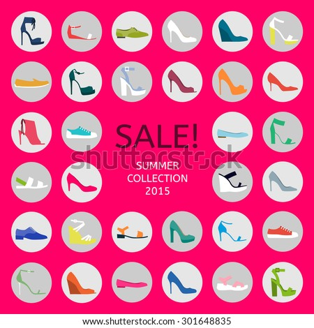 Shoes on pink background: shoes, sandals, sneakers, boots. Vector flat colorful icon set - stock vector