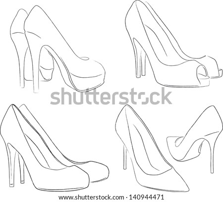 shoes outline   vector (many points) - stock vector