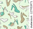 shoes seamless pattern - stock vector