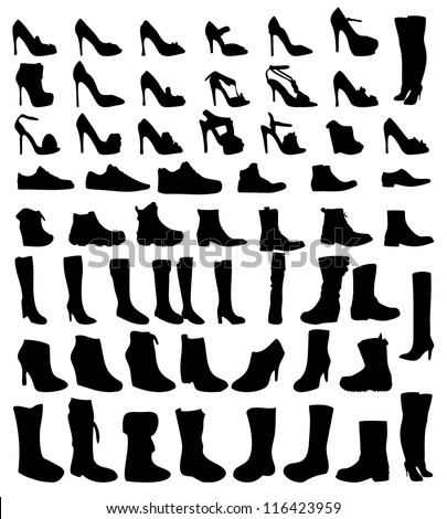 Shoes silhouette vector illustration eps10 - stock vector