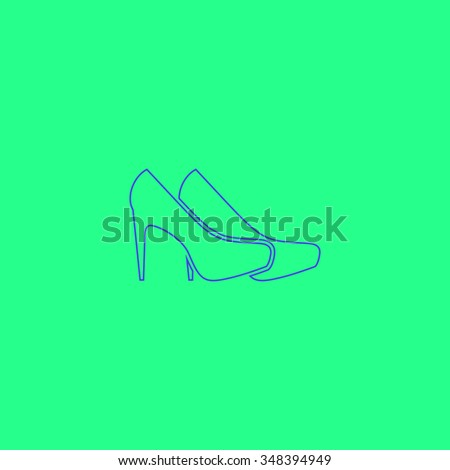 shoes Simple outline vector icon on green background