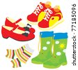 Shoes, socks, gumboots and boots - stock vector