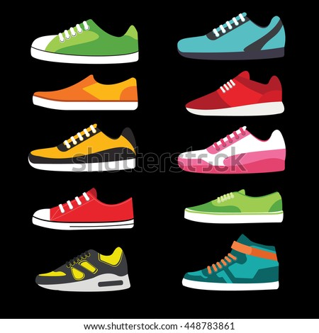 Shoes, trainers sport flat vector set