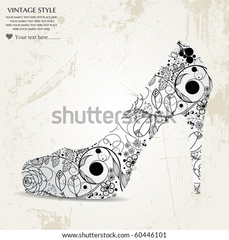shoes-vintage flower - stock vector