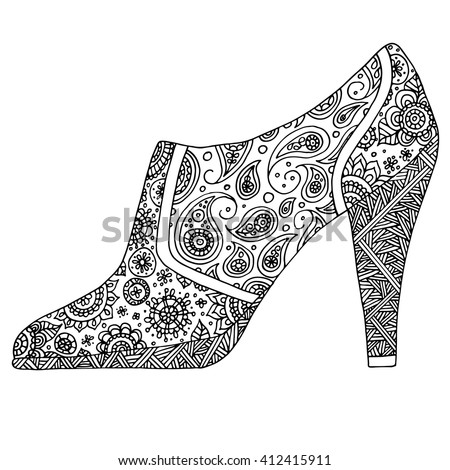 Shoes with Paisley. Black and white line art ethnic design. Adult coloring book. Joy to adult colorists. Vintage decorative element. Islam, Arabic, Indian, turkish, pakistan, chinese, ottoman motifs. - stock vector