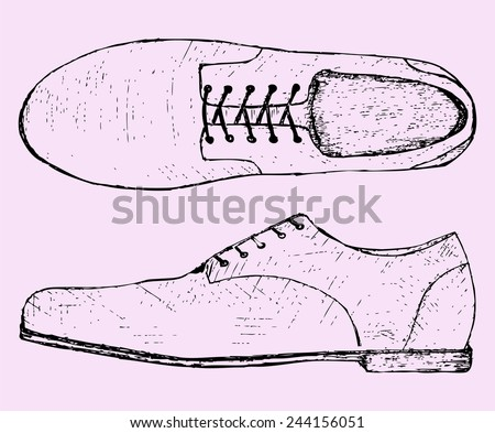 shoes with shoelace, sketch illustration, doodle style  - stock vector