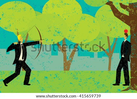 Shooting an apple on the head of a business man A risk taker attempting to shoot the apple on a man's head with a bow and arrow.  - stock vector