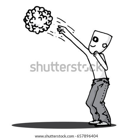 Shooting brain man doodle vector character stock vector 657896404 shooting brain man doodle vector character thecheapjerseys Choice Image