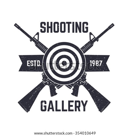 Shooting Gallery logo, sign with crossed assault rifles, vector illustration - stock vector