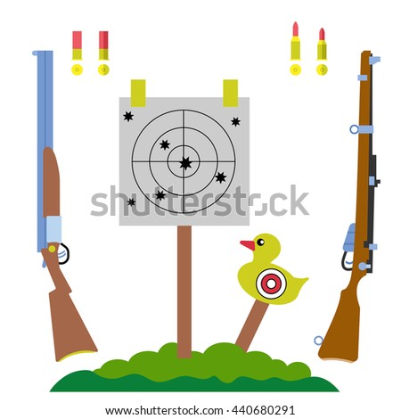 shooting range and, hunting equipment set with gun, rifle, duck target and tree landscape vector illustration, in flat design style, for shooting sports design - stock vector