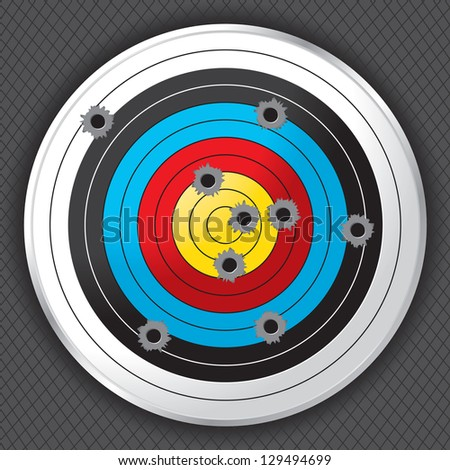 Shooting range target shot full of bullet holes. Bullet holes, target and background are layered for easy separation. - stock vector