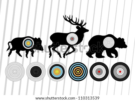 Shooting range wild boar, deer and bear hunting targets silhouettes illustration collection background vector - stock vector
