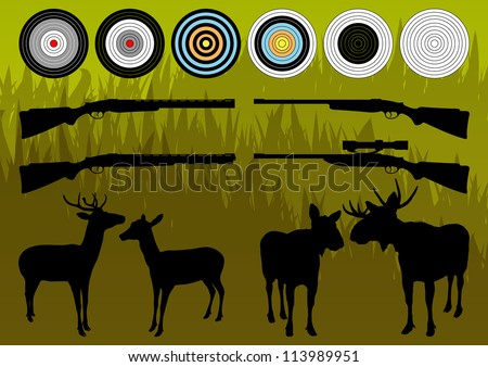 Shooting range wild deer, elk and moose silhouettes and guns illustration collection background vector - stock vector