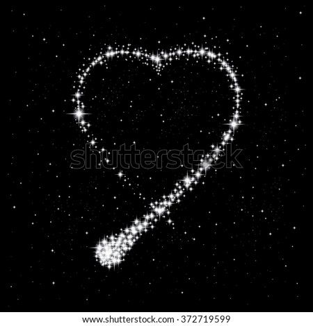 Shooting star in the shape of heart. Valentine's day abstract background. Vector illustration - stock vector