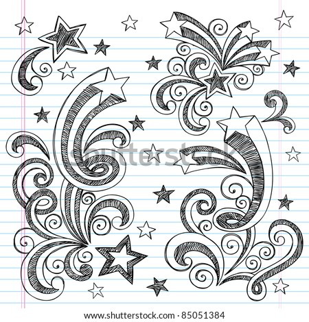 Shooting Stars Hand-Drawn Sketchy Back to School Notebook Doodles with Starbursts, Swirls, and Stars- Vector Illustration Design Elements on Lined Sketchbook Paper Background - stock vector