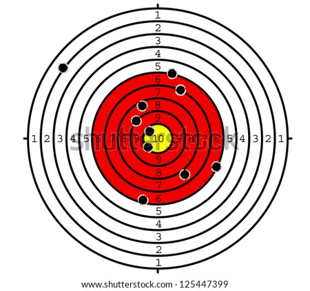 Shooting target with holes for sport or military design. Jpeg version also available in gallery - stock vector