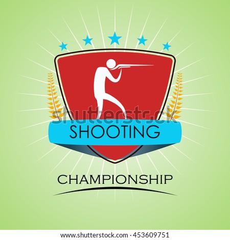 Shooting - Winner Golden Laurel Seal  - Layered EPS 10 Vector - stock vector