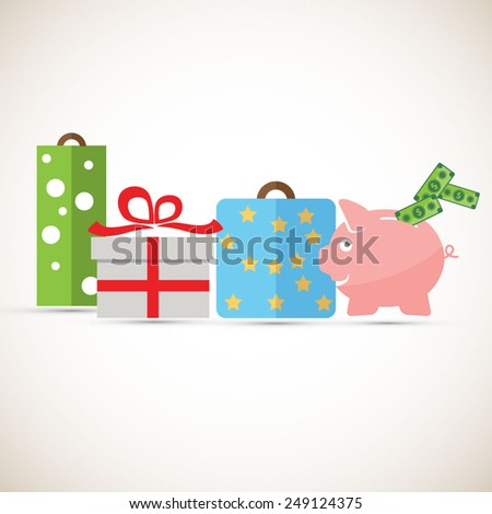 Shop and save - piggy bank with gifts - EPS10 vector - stock vector